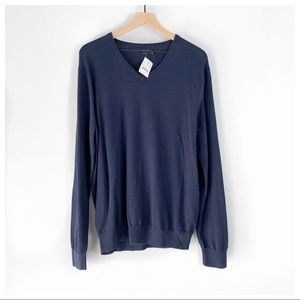 J. Crew Men's Harbor Cotton V-Neck Sweater Size L
